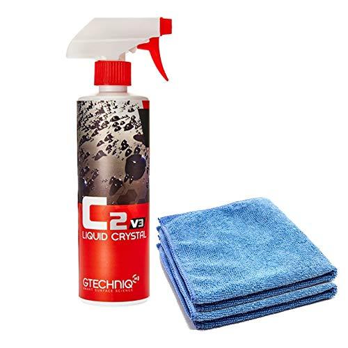Gtechniq C2v3 Liquid Crystal – Revolutionary Easy Spray-On Polish, Dirt Repellant, UV Ray Protection Glass-Like Finishing Shine – 500 ml + Free 16x16 Microfiber Towel