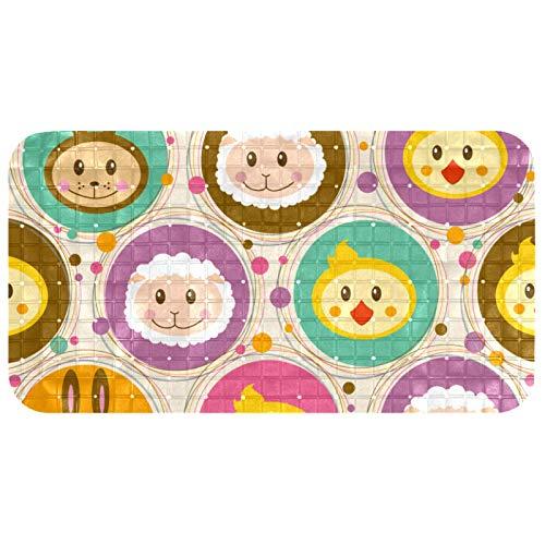 Bennigiry Safe - Alfombrilla de ducha antideslizante con ventosas para suelos de mármol (37,3 x 68,3 cm), diseño retro de dibujos animados, mono, oveja, conejo