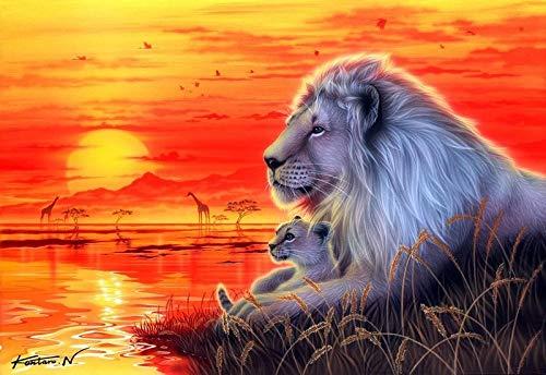 Lion und Seine Kinder malen bei Sonnenuntergang die Wohndekoration des Wohnzimmers auf das Wandbild,Rahmenlose Malerei,45x67cm
