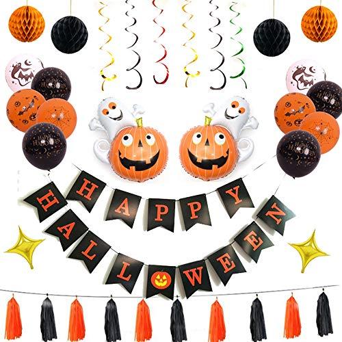 Halloween-decoratieset, Halloween-decoratie, voor Halloween, party's, vleermuis, spin, ster, pompoenen ballonnen C