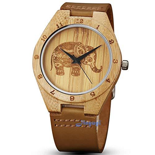 gorben Herren Holz Uhren, Creative Elefant Bambus Holz Uhren natur Rindsleder Leder Gurt Handarbeit leicht Japanisches Quarz-Uhren für Frauen Herren Geschenk-Box