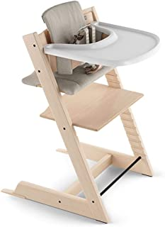 Stokke 2019 Tripp Trapp High Chair Complete Bundle, Natural with Timeless Grey Cushion and White Tray