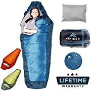 HiHiker Mummy Bag + Travel Pillow w/Compact Compression Sack – 4 Season Sleeping Bag for Adults & Kids – Lightweight Warm and Washable, for Hiking Traveling & Outdoor Activities