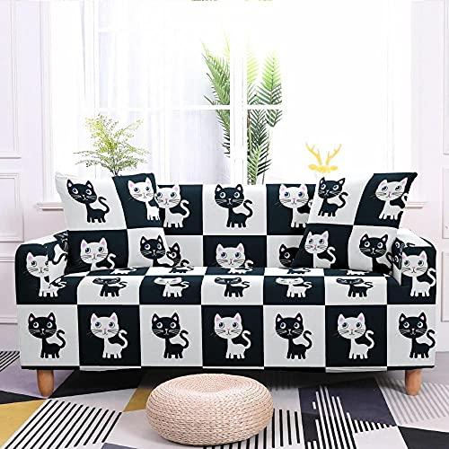 Fundas para Sofa Elastica 2 Plazas, Blanco y Negro Gato de Dibujos Animados Cuadros Estampada Suave Funda Cubre Sofá Ajustables Cubresofá Cubierta para sofá Funda Protector Funda de sillón 135-170cm