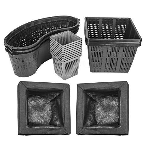 Interflowers GmbH Juego de 6 cestas para plantas acuáticas de diferentes tamaños, ideal para estanques de jardín, adecuadas para plantas de estanque como nenúfares