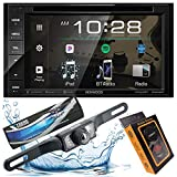 Kenwood DDX26BT Double DIN SiriusXM Ready Bluetooth in-Dash DVD/CD/AM/FM Car Stereo Receiver w/ 6.2' Touchscreen + XV Bar Style Backup Camera + Gravity Magnet Phone Holder
