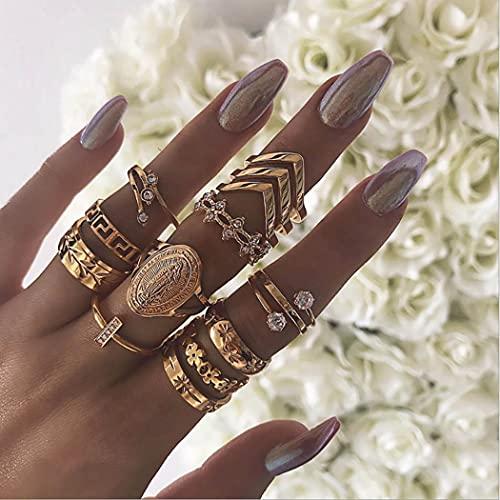 Zoestar Anillos de dedo de oro de cristal vintage virgen articulación nudillos conjuntos hoja apilable joyería de moda para mujeres y niñas (paquete de 13)