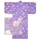 Japanese Kimono Yukata Robe 58' L Sakura W/Shibori Pattern Purple/Made in Japan