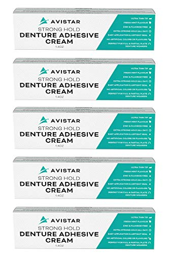 Denture Adhesive Cream (5 Pack) - Extra Strong Hold with Easy Application & Mint Flavour (Zinc &...
