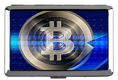 Silber Metall Zigarettenetui, Dollar Bitcoin Papier Dollar Business Name Kartenhalter Brieftasche Kreditkarte Id Fall