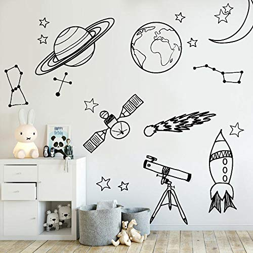 Diy Wall Stickers For Kid Room Astronomy Tool Space Astronomy School Deocr Mural Vinyl Decal Removable Nursery Wall Decals