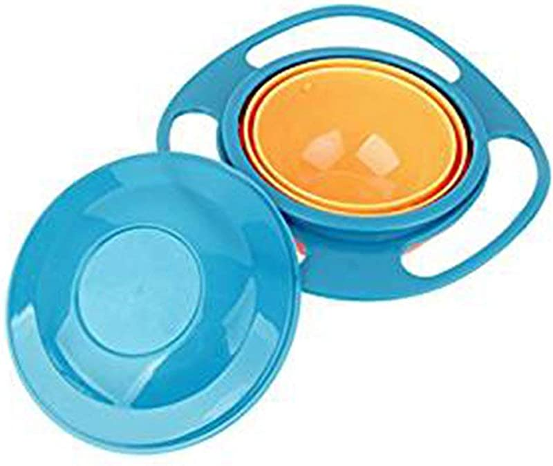 Andy Cool Premium Quality Non Spill Feeding Toddler Gyro Bowl 360 Rotating Kids Avoid Food Spilling Blue