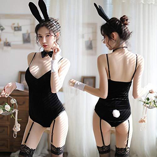 HI SBM Vestido para Adultos Disfraz Sexy, Entrepierna de Terciopelo Dorado Conjunto de Uniforme Sexual de una Pieza de Bunny Girl Oculto, lencería de Clubwear de Disfraces
