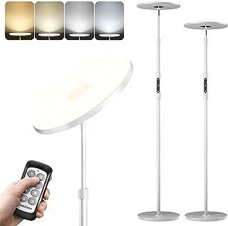 Lampadaire sur Pied Salon Blanc, aneeway 3000-6000K Lampadaire LED Dimmable en Continu, 3000Lm Lampadaire Télécommande ave...