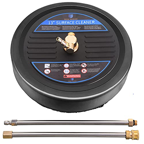 RIDGE WASHER Surface Cleaner for Pressure Washer, 13 Inch, Pressure Washer Surface Cleaner Attachment with 2 Pcs Power Extension Wands, 2500 PSI
