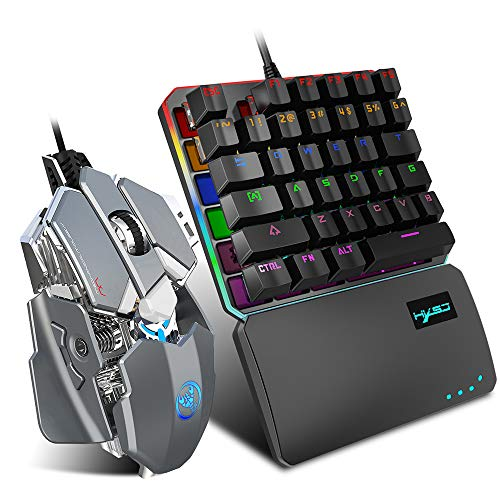 Docooler HXSJ V200+J600 Keboard and Mice Combo Wired Gaming Mouse 9-Key Macro Programming Mice & V200 Blue Switch One-Handed Mechanical Keyboard Set Black Keyboard + Grey Mouse