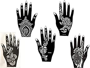 Kit de plantillas 5con diseños de Henna para manos de Mehandi. También adecuadas para tatuajes de brillantina y aerógrafo. De usar y tirar
