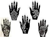 Kit de plantillas 5con diseños de Henna para manos de Mehandi....