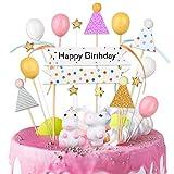 VAINECHEY Decoraciones Pasteles Topper Pastel Decoracions Cumpleaños Happy Birthady Cupcake Toppers Magdalena Tarta Cumpleaños Niños Niñas Unicornio