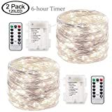 LoveNite Fairy Lights Battery Operated 120 LED Waterproof 8 Modes with Remote Control Timer 39ft Decorative String Lights for Indoor Outdoor Decor 2 Pack (Cool White)