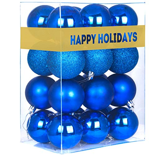GameXcel 24Pcs Christmas Balls Ornaments for Xmas Tree - Shatterproof Christmas Tree Decorations Perfect Hanging Ball Blue 1.6' x 24 Pack