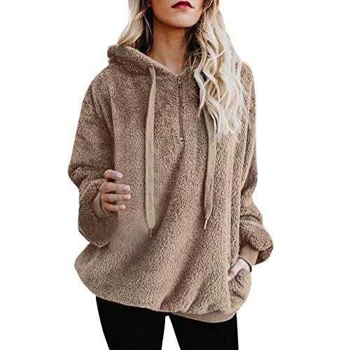 Felpe da Donna -Donne Oversize Inverno Caldo Pullover Maniche Lunghe Outerwear Fuzzy Casual Allentato Felpe con Cappuccio da Donna(Cachi 4,L)