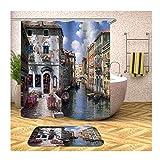 KnSam Set Bagno 2 Pezzi Poliestere Impermeabile Pittura Architettonica Z76 Colorato Tappetino Bagno 40X60 + Tenda Bagno 150X200Cm