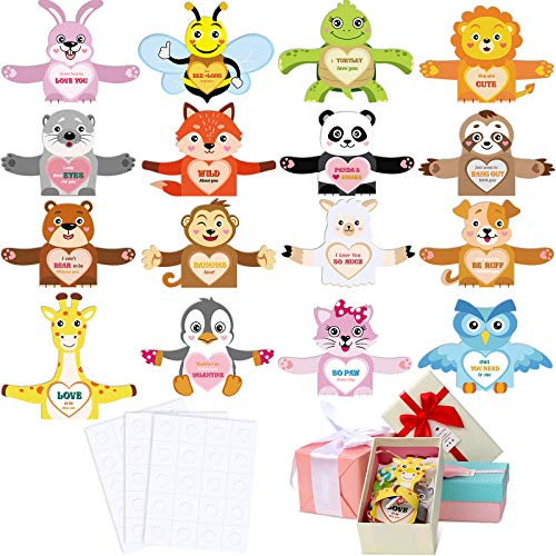 48 Pieces Valentine's Day Animal Cards Children Candy Exchange Cards Valentines Greeting Cards Cute Animal Holiday Card and 3 Sheets Glue Point Dots for Kids Party Supplies