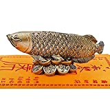 Fengshui Wealth Arowana Fish Lucky Fish Statue Figurine Decoration+ Wealth Amulet and Free Red String Bracelet D1014