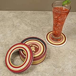 USC Trojans 4-Pack Coasters with Tin