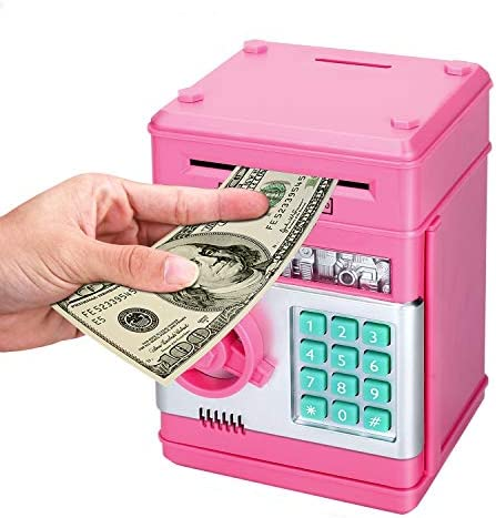 Zonkin Cartoon Electronic ATM Password Piggy Bank Cash Coin Can Auto Scroll Paper Money Saving product image