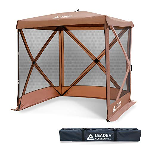 Leader Accessories 6x6 feet Instant Popup Mesh Screen House/Room/Canopy/Shelter/Gazebo (Brown)