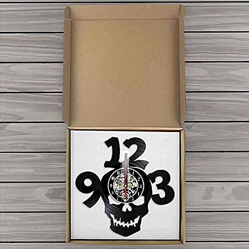 BBZZL Halloween Horror Skull Big Number Cut Vinilo LP Reloj de Pared Skull Head Demon Demon LED Night Light