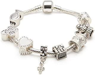 Girls First Communion Bracelet. Holy Communion Keepsake Silver Plated Charm Bracelet. First Communion Gifts, First Communion Jewelry. Cross Bracelet. Gift For 1st Communion (6.3in/16cm/5-8yrs)
