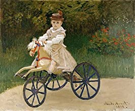 Monet (Jean Monet on His Horse Tricycle, 1872) Canvas Art Print Reproduction (16.4x20.1 in) (42x51 cm)