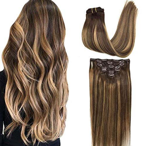 GOO GOO 24 inch Clip in Hair Extensions Ombre Chocolate Brown to Caramel Blonde Remy Clip in Human Hair Extensions Straight Balayage Real Natural Hair Extensions 120g 7pcs