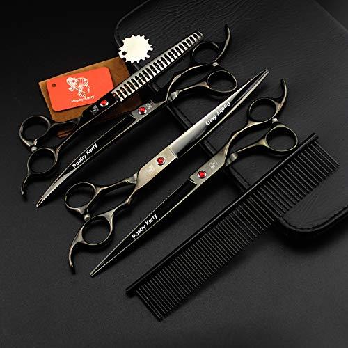 Poetry Kerry high-end Professional pet Care 8 inch pet Scissors 440C Steel Black Set (4set-2)