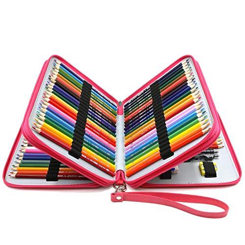 YOUSHARES Federmäppchen mit 120 Fächern, PU-Leder, handlich, groß, mehrschichtiger Reißverschluss, mit Griffschlaufe für Prismacolor-Aquarellstifte, Crayola-Farbstifte, Marco-Stifte und Kosmetikpinsel (Pink)
