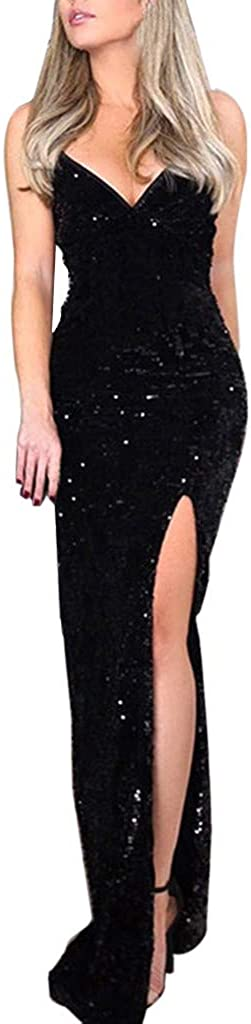 iQKA Women's Sexy Deep V Sequin Long Dress Solid Color Wrap Ruched Side Split Sleeveless Nightclub Party Dress
