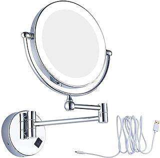 照明付き化粧化粧鏡、拡大鏡LED充電式USBバスルーム8インチラウンドガラスミラー(クローム) (Size : 5X)