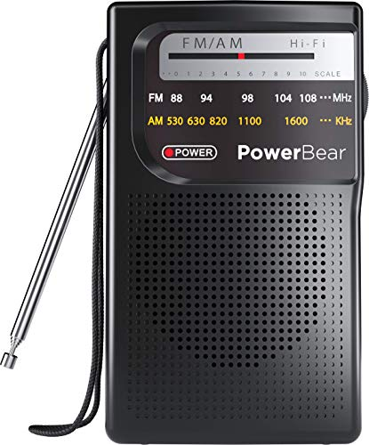 PowerBear Portable Radio | AM/FM, Battery Operated, Long Range (Black)
