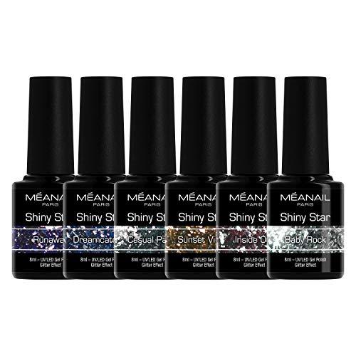 Cofanetto Diamond Shiny Star • Smalti Semipermanenti Unghie • Smalto Semipermanente UV LED • 6 Colori Glitter Shiny Star • Vegan & Cruelty Free • MEANAIL