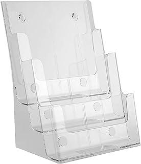 W-J-B 透明なファイル収納ラック、アクリルパンフレットラック、ウォールデータブックディスプレイラック、デスク表面A4ディスプレイスタンド - 3層