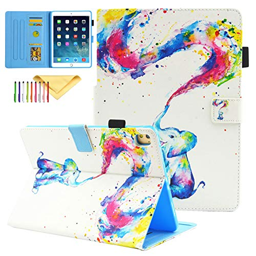 iPad 8th Generation Case 2020, iPad 10.2 Inch Case 2019/2020, Uliking Slim Lightweight Smart Cases Covers with Card Slots Kickstand Case Kids for Apple iPad 10.2 Inch 2019/2020, Rainbow Elephant
