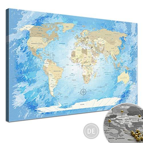 """LANA KK - Weltkarte Leinwandbild - Kork Pinnwand zum pinnen Deiner Reiseziele – """"World Map Frozen"""" - deutsch - Kunstdruck Globus in blau, gerahmt in 120x80cm"""