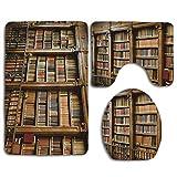 N\A Estantería Bookrack Library 3PCS Franela Antideslizante Asiento de Inodoro + Almohadilla para los pies + Alfombrilla de baño Set de baño Decoración de Inodoro
