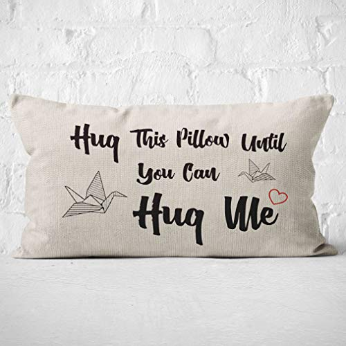 Hug This Pillow Until You Can Hug Me Pillow Case, Long Distance Relationship Gifts, Gift for Couples, Boyfriend Gifts, Gifts Anniversary, Wedding,20X12 Inch Love Cushion Case for Sofa Bed