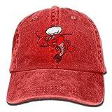 AINCIY Hombres Mujeres Ajustable Denim Fabric Gorra de béisbol Crawfish Chef Hiphop Cap Design