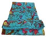 colors of rajasthan Indian Kantha Blanket, Bed Cover, King Kantha Bedspread, Bohemian Bedding Kantha Hippie Quilts (Blue)
