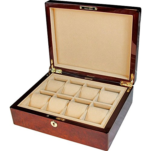Makah Burl Wood 8 Watch Storage box con serratura
